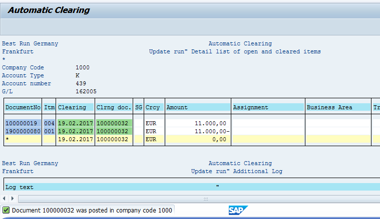 SAP Automatic Clearing – Successful Run