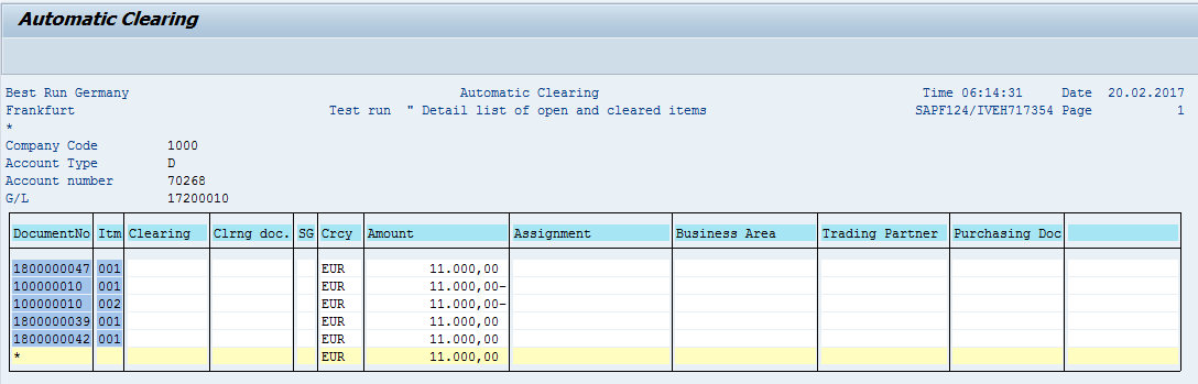 SAP Automatic Clearing – List of Open Items