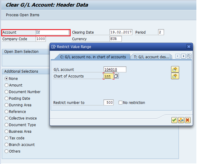 Clear G/L Account Transaction
