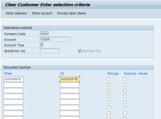 Clear Customer Open Items – Additional Selection by Document Number