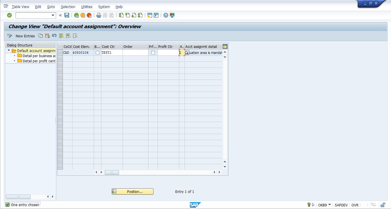Transaction OKB9 – SAP CO Account Assignment