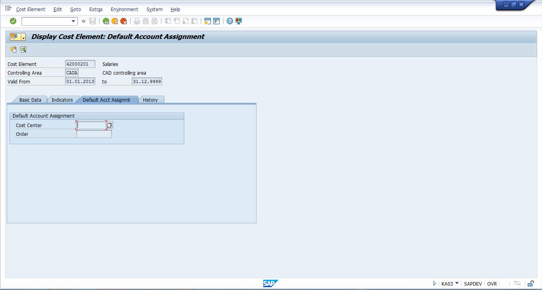 SAP Cost Element Master Data