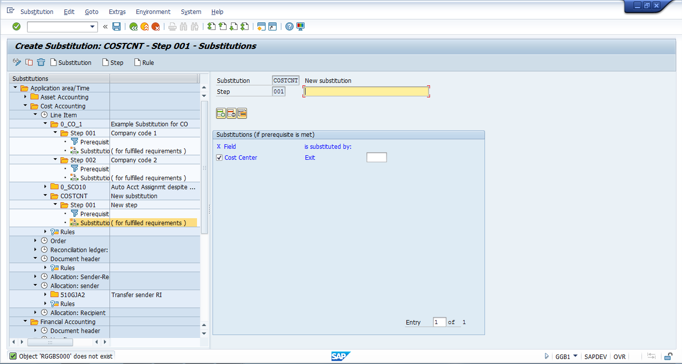 SAP Create Substitution Transaction