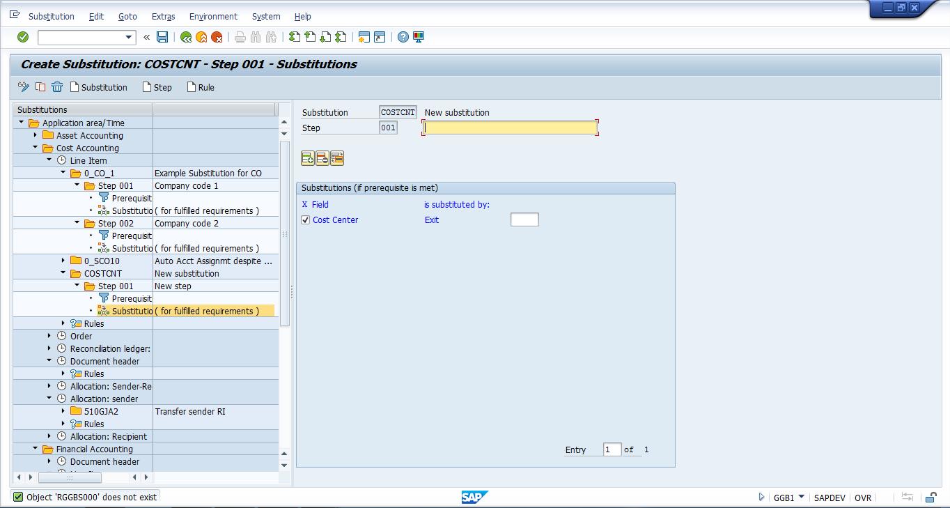 SAP Create Substitution Transaction