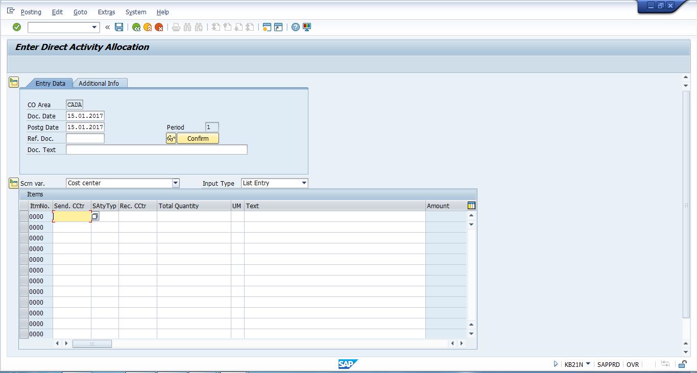 SAP Direct Activity Allocation Transaction