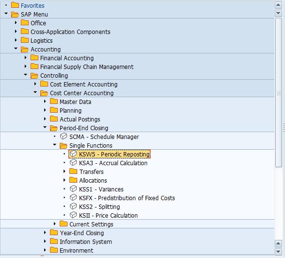 KSW5 – Periodic Reporting Transaction in SAP Easy Access Menu