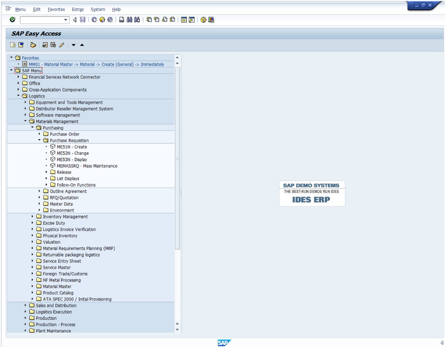 Find ME51N Transaction in SAP Menu Tree