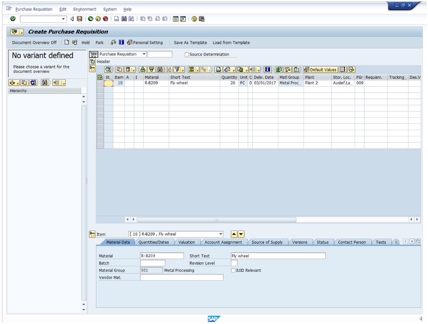 Use of the Material Master Record to Create SAP Purchase Requisition