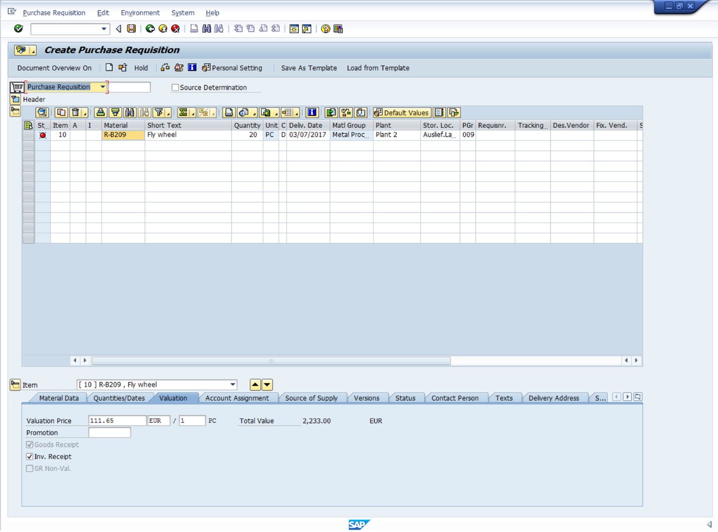 SAP Purchase Requisition with Material Master Record