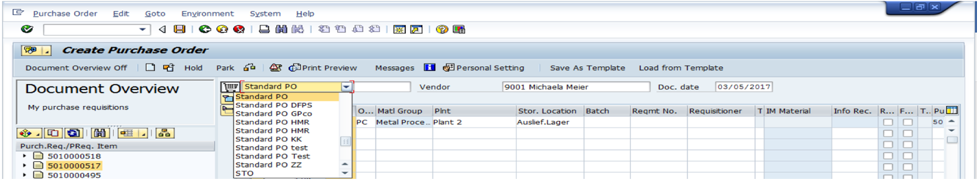 Select Correct Purchase Order Type