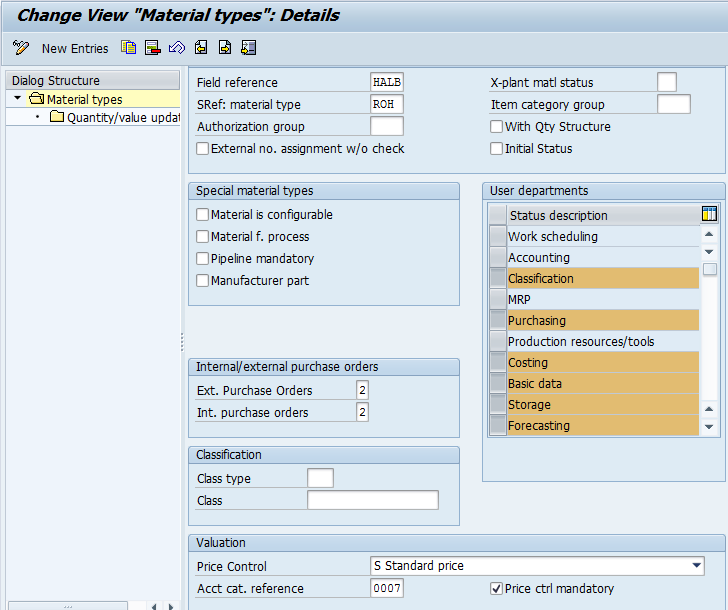 Assign Default Valuation Method to a Material Type