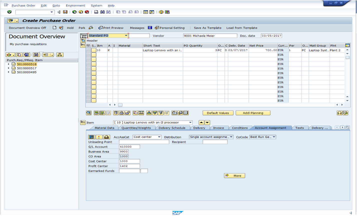 Account Assignment in SAP Purchase Order