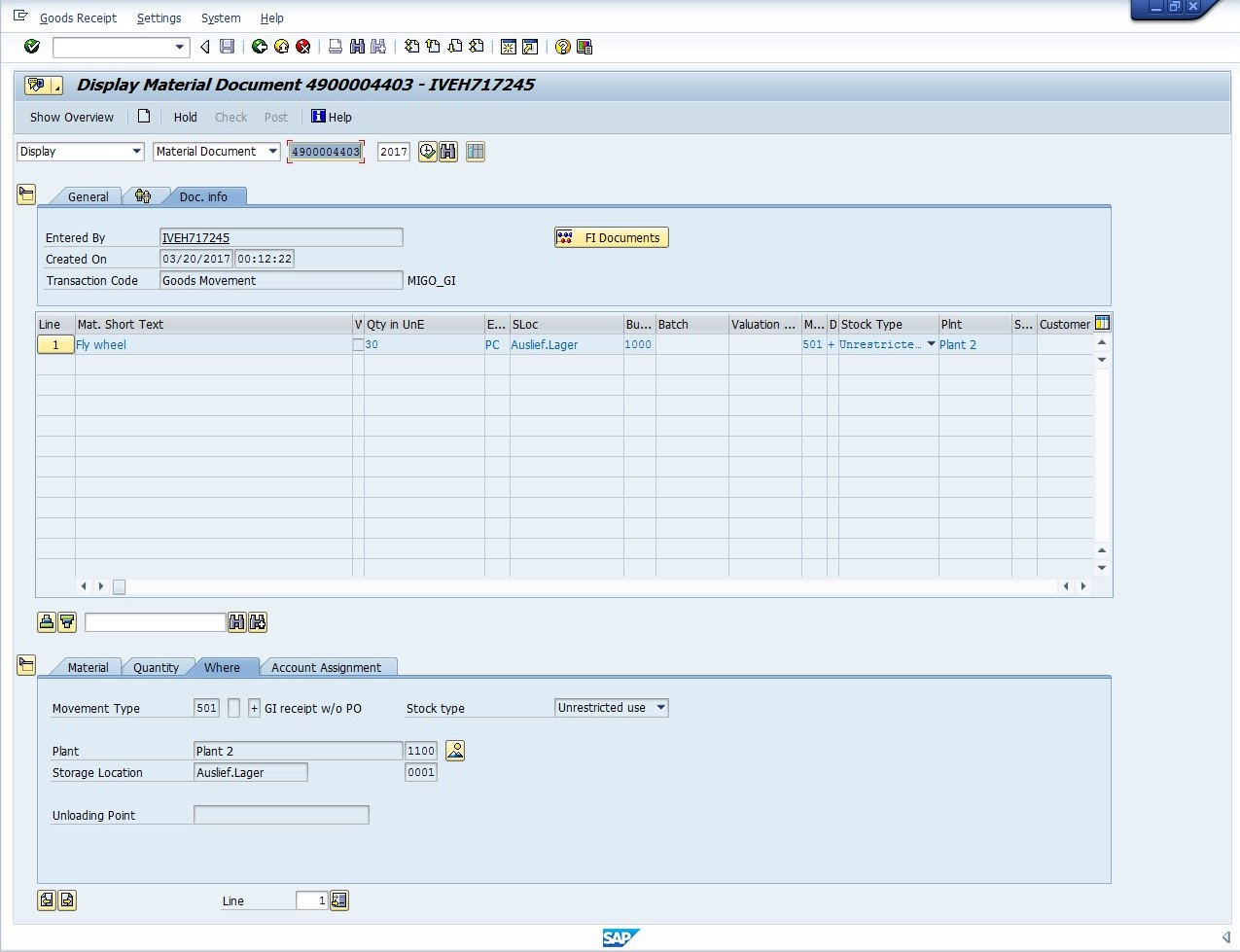 SAP Material Document Display