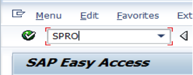 Enter SPRO Transaction Code
