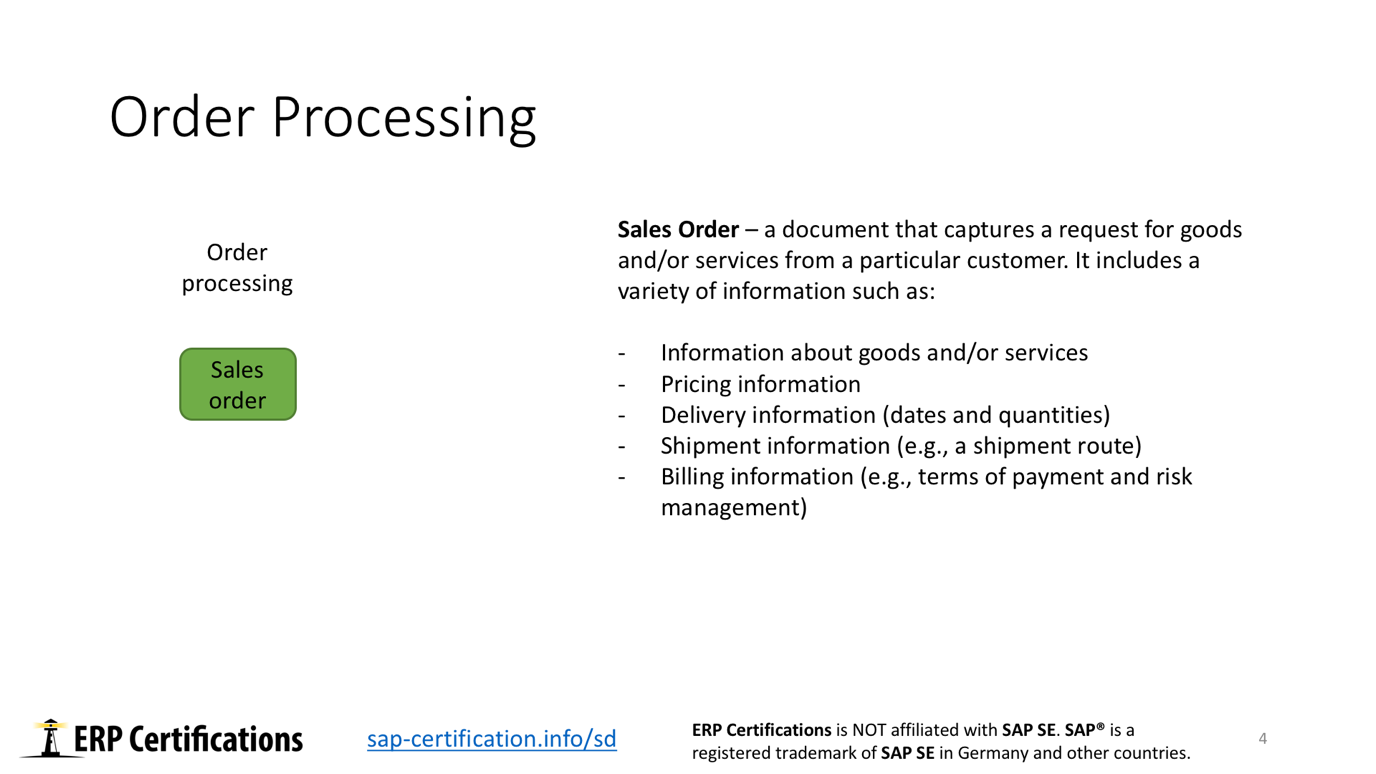 Order Processing Activities in SAP Order to Cash Process