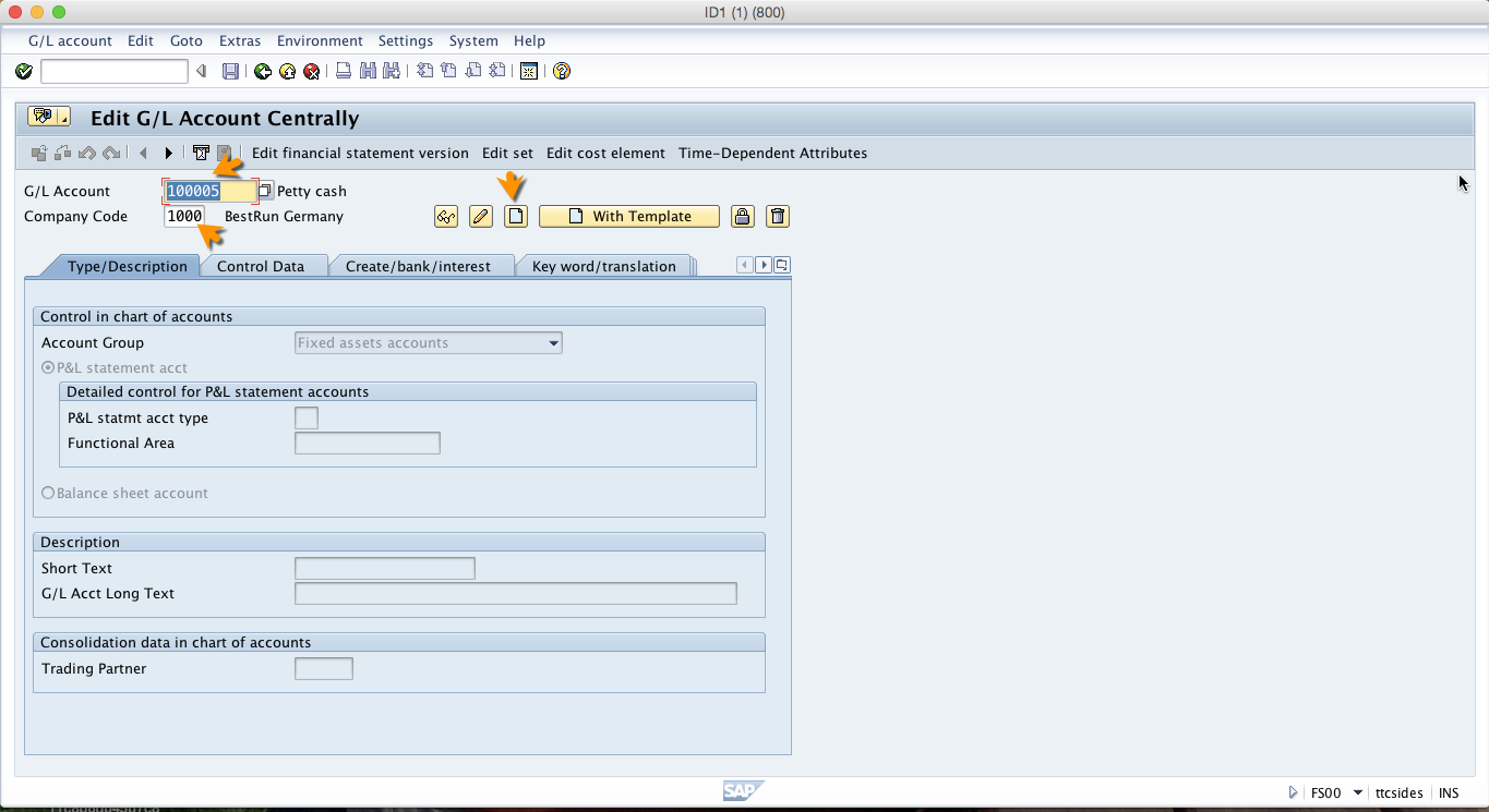 Create SAP G/L Account – Initial Screen