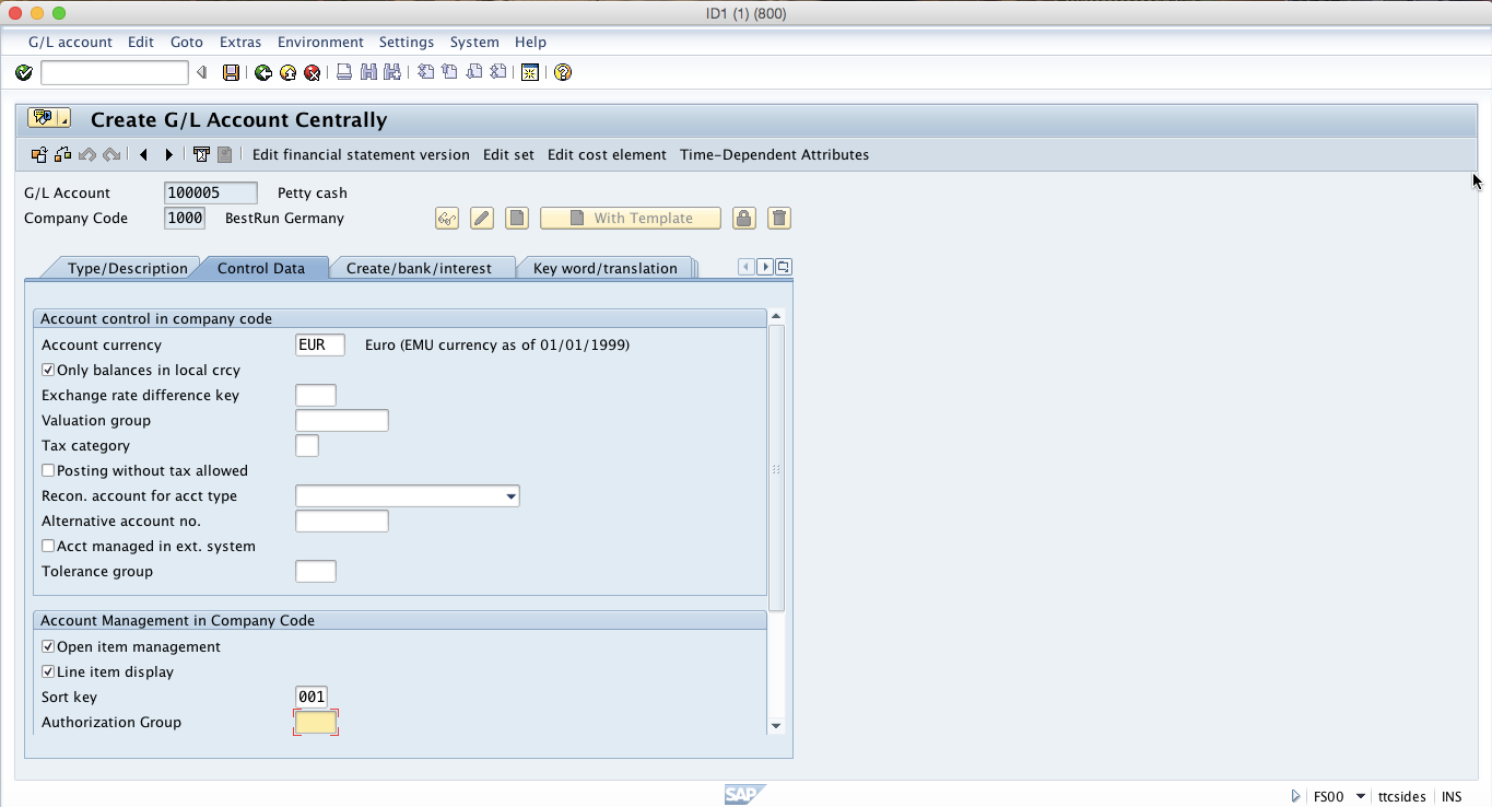 Create SAP G/L Account – Control Data Tab