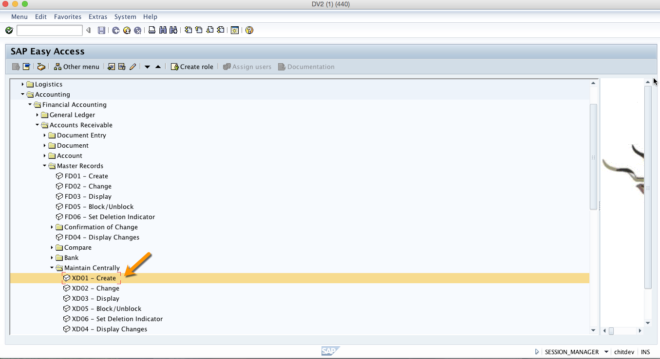 SAP Menu Path for Creating a Customer