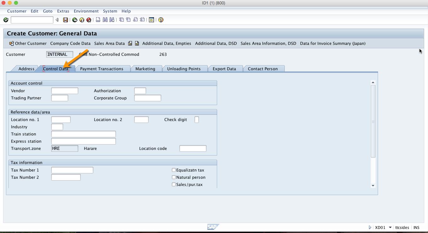 Customer Control Data Tab