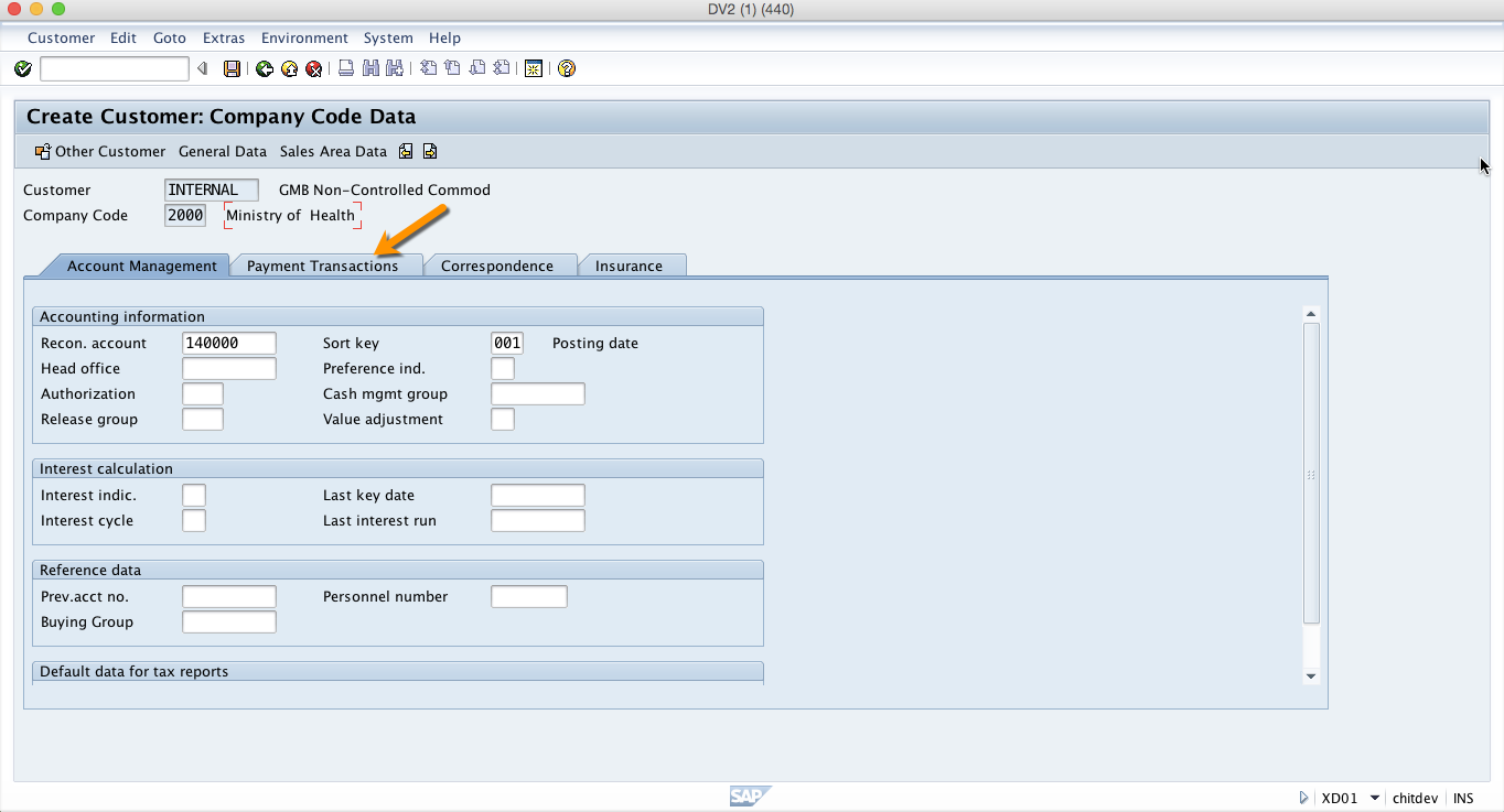 Payment Transactions Tab in Company Code Segment