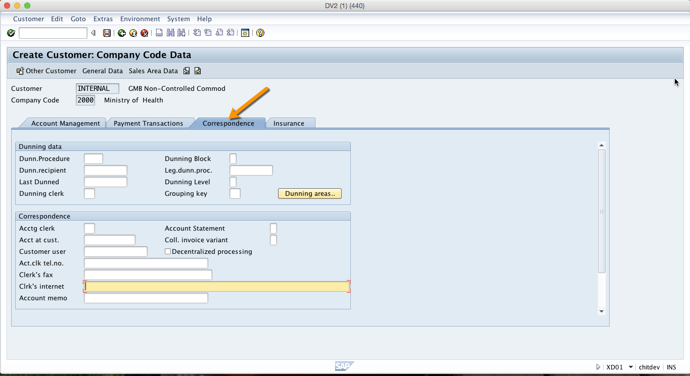 Correspondence Tab in SAP Customer Account