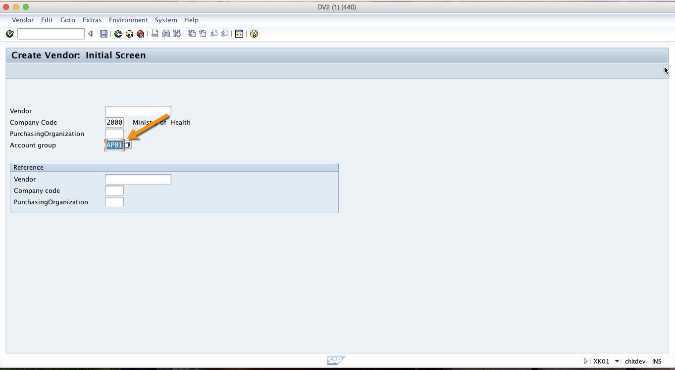SAP Vendor Account Group
