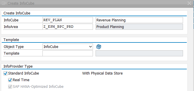 Create SAP Real-Time InfoCube – Select InfoProvider Type