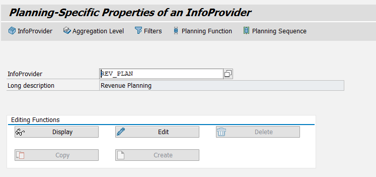 Transaction RSPLAN Initial Screen – InfoProvider Button