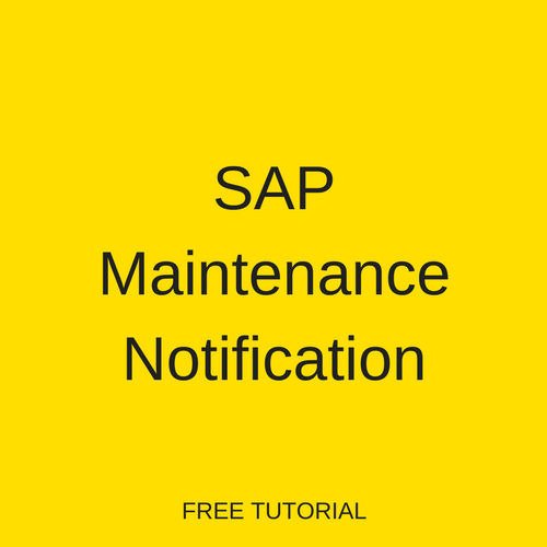 SAP Maintenance Notification