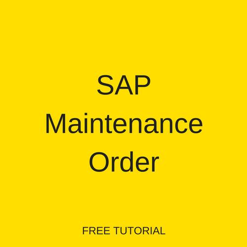 SAP Maintenance Order