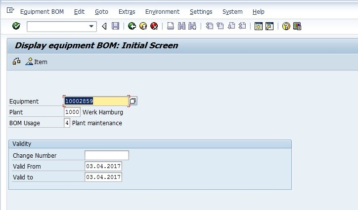 Initial Screen of Display BOM Transaction