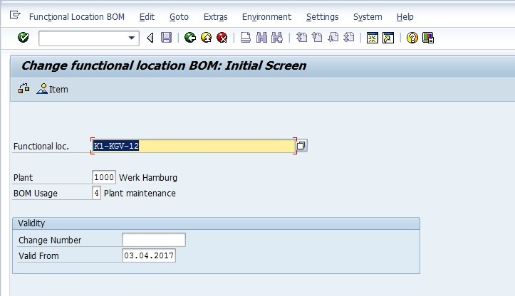 Initial Screen for Making Changes to Functional Location BOM