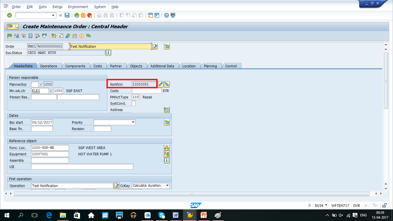 how to create workcenter in sap pm