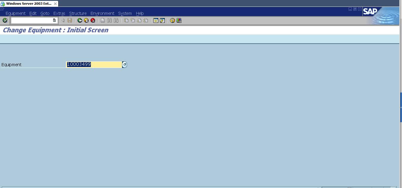 Change Equipment: Initial screen, Transaction Code IE02