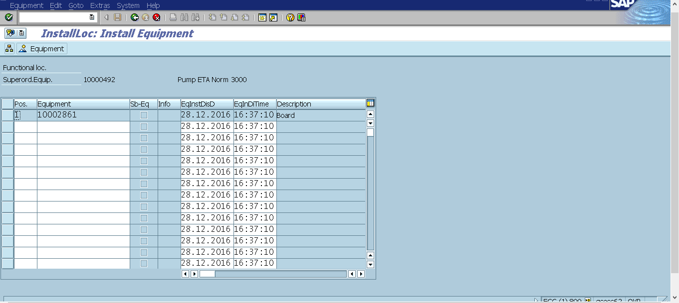 InstallLoc: Install Equipment Screen