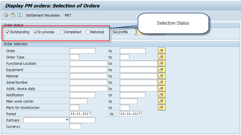 Selection Screen for Change PM Order (1)
