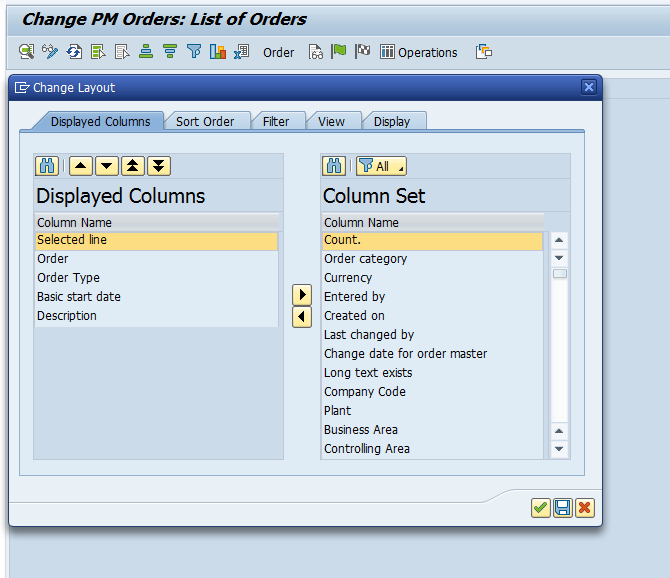 Change Layout Screen in List of PM Orders