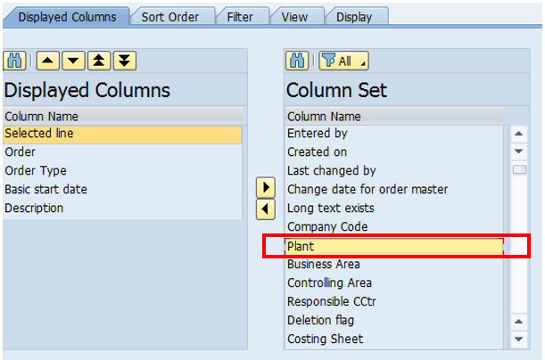 Change Layout Screen in List of PM Orders – Select Plant