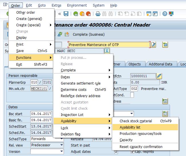 SAP Maintenance Order: Availability Check Menu