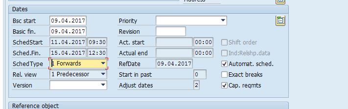 SAP Maintenance Order: Dates Overview