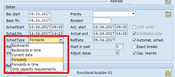 SAP Maintenance Order: Dates Overview – Scheduling Type
