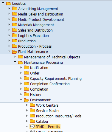 SAP Permits Menu Path