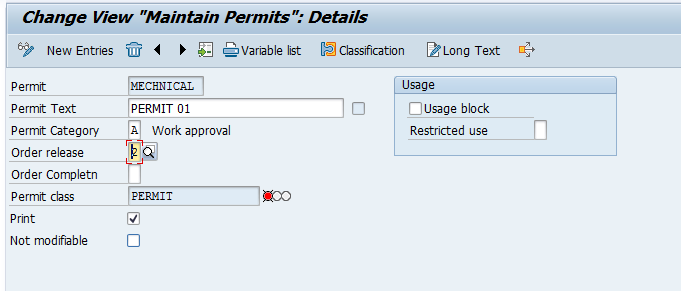 Maintain Permits – Sample Entry