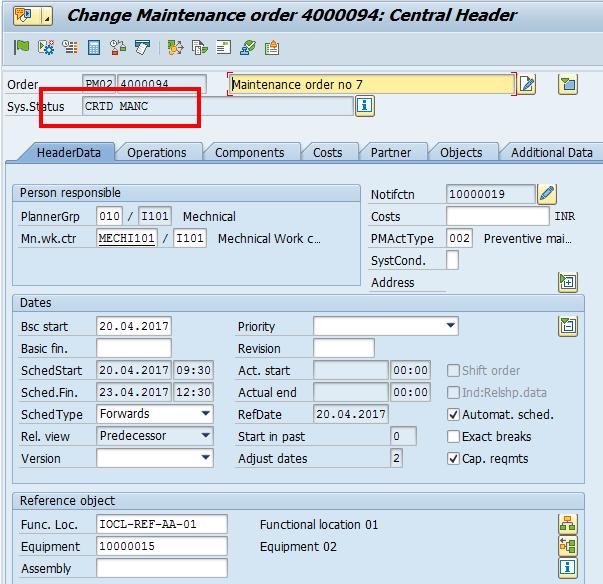 SAP Maintenance Order (Not Released)