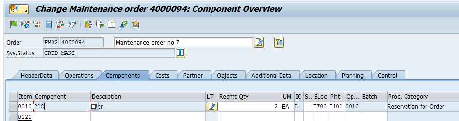SAP Maintenance Order: Component Overview