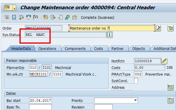 SAP Maintenance Order (Released)