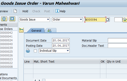 Goods Movement: Goods Issue for SAP PM Order
