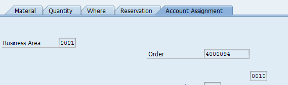 Goods Issue: Account Assignment Tab