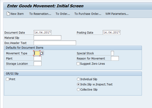 Goods Movement Selection Screen