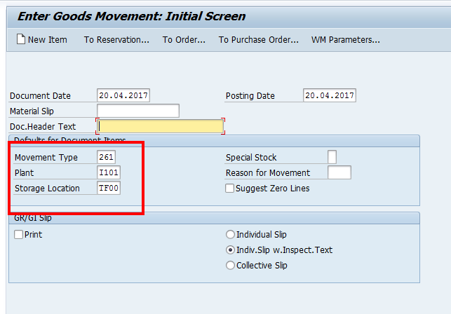 Goods Movement Selection Screen (Sample Data)